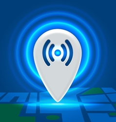 Wifi active spot over block map vector image vector image