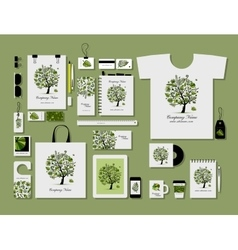 Corporate flat mock-up template tropical tree vector image vector image