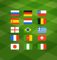 Flags of different national football teams vector image vector image