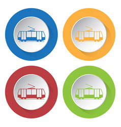 four round color icons tram streetcar vector image