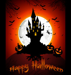 halloween grave on full moon background vector image vector image