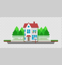 house on the road part of the rural and urban vector image