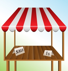 Sale table with stripped awning vector image