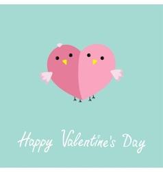 Two pink birds in shape of half heart Love cart vector image vector image