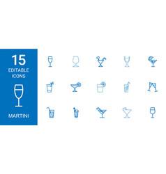 15 martini icons vector