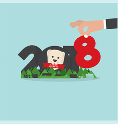 2018 year of dog new year concept vector image
