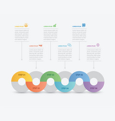 6 circle infographic with abstract timeline vector