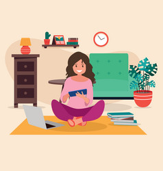 a young girl is lying on the floor at home vector image