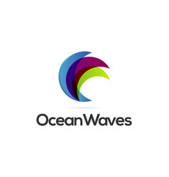 abstract colorful waves logo design template vector image