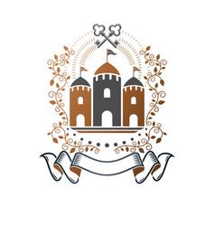 ancient fortress emblem heraldic coat arms vector image