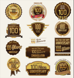 anniversary golden labels and badges 100 years vector image