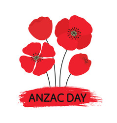 Anzac day bouquet of poppy flowers vector