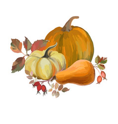 autumn still life with pumpkins and rose hips vector image