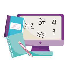 Back to school computer maths lesson books and vector