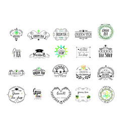 badge as part of the design - green tea sticker vector image
