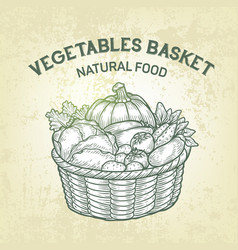 Basket with fresh vegetables realistic vector