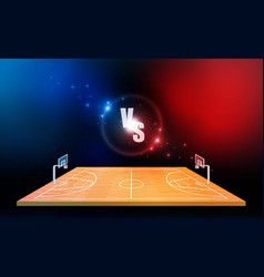 basketball arena field with bright stadium lights vector image