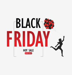 Black friday sale with woman holding glossy vector