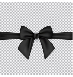 black silk ribbons and bow isolated on a vector image