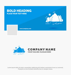 Blue business logo template for nature hill vector