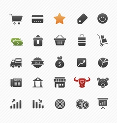 Business and shopping symbol icon set vector image