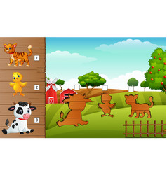 cartoon farm animals collection set find the corr vector image