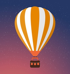 Cartoon Retro Air Balloon On Night Sky Background vector