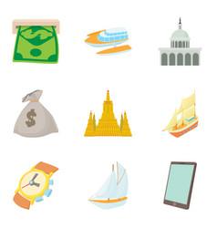 Cash equivalent icons set cartoon style vector