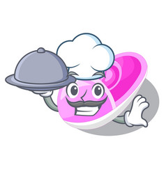 Chef with food cute baby shoes in shape cartoon vector