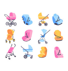 Childish strollers different baby buggies and car vector