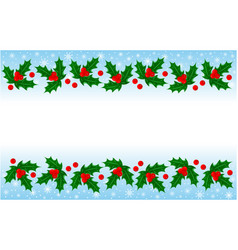 christmas holly leaves decorative banner frame vector image