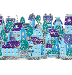 City seamless pattern with houses and roofs vector