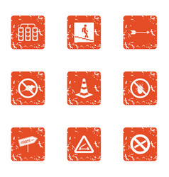 city sign icons set grunge style vector image