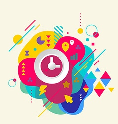 Clock on abstract colorful spotted background with vector image