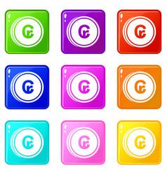Coins cruzeiro icons 9 set vector