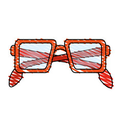 Color crayon stripe glasses with red contour vector