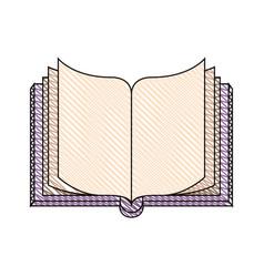 Color crayon stripe image of top view open book vector
