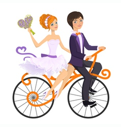 Couple in love on tandem bicycle vector