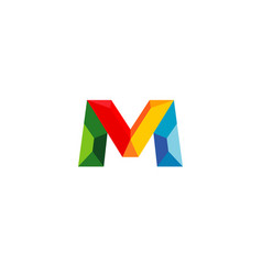 creative colorful geometric m letter symbol logo vector image