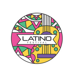 Creative round-shaped logo for latino festival vector