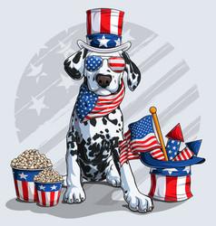 cute dalmatian dog 4th july elements vector image
