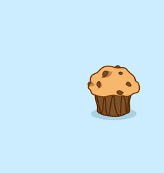 cute muffin cake tasty cupcake sweet bakery vector image