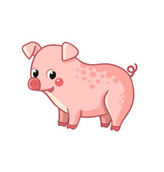 cute pink pig stands on a white background vector image
