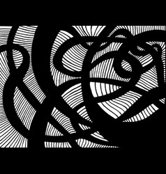 Decorative black psychedelic curly lines labyrinth vector