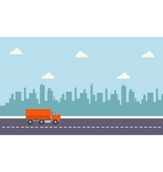 Delivery truck with city backgrounds vector