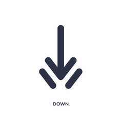 Down icon on white background simple element from vector