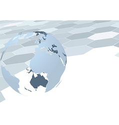 Earth globe over geometrical background vector