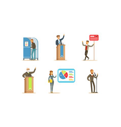 election campaign set people voting at polls vector image