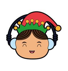elf or santas helper wearing ear muffs christmas vector image