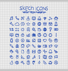 Exercise book sketch hand drawn icons vector